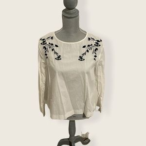 Zara Basic White Floral Toad Embroidered Top L